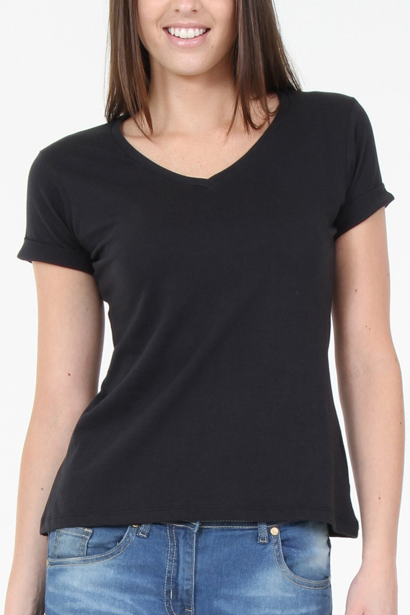 T-Shirts - Black V-Neck Basic T-Shirt