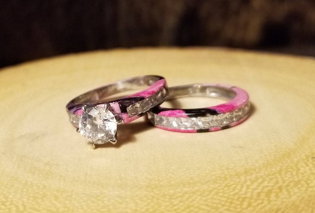 Overstock- Brilliant cut wedding set Size 4, Muddy girl camo