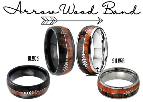 ArrowWood Tungsten Band - Wood Inlay Arrow Ring