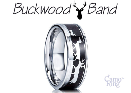 BuckWood Band - Deer Family Tungsten Ring