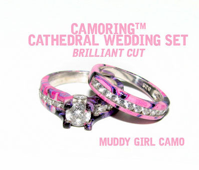 Camo Cathedral Wedding set - Brilliant Cut - Muddy Girl Camo - Size 10