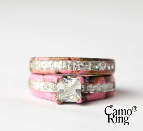 Camo Cathedral Wedding set - Princess Cut - Pink Camo - Size 4