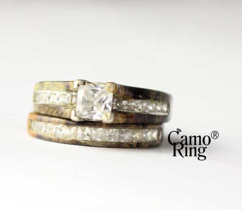 Camo Cathedral Wedding set - Princess Cut -TimberTec Camo - Size 7