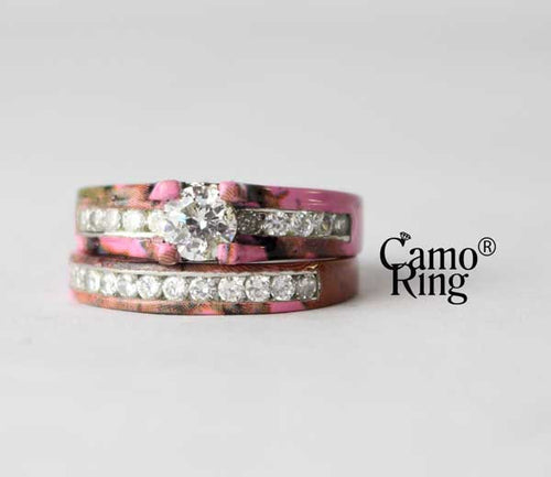 Camo Cathedral Wedding set - Brilliant Cut - Pink Camo - Size 11
