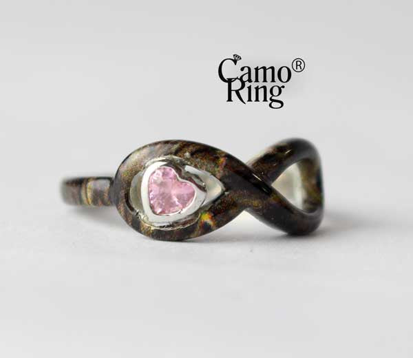 Camo Forever Promise Ring with Pink CZ Heart - Timbertec Camo - Size 8