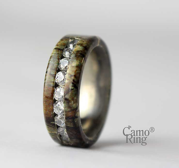 Men's Camo Titanium CZ Inlay Ring - Timbertec Camo - Size 9