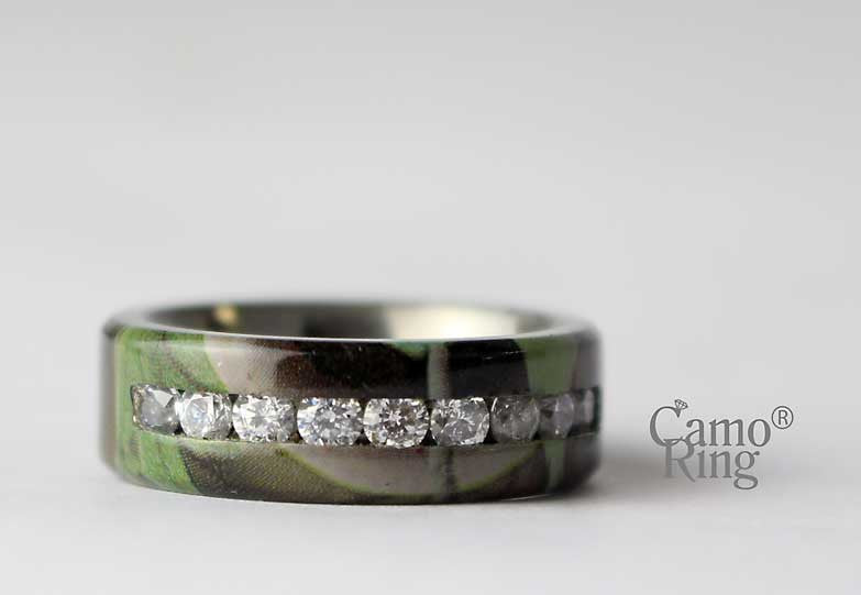 Men's Camo Titanium CZ Inlay Ring - GreenLeaf Camo - Size 8