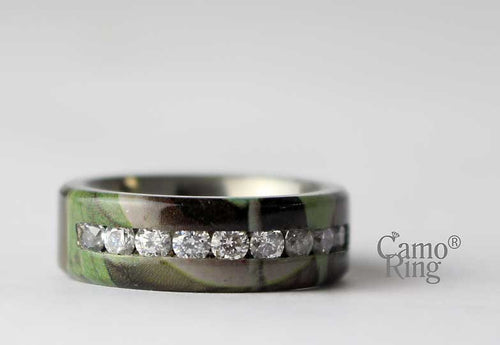 Men's Camo Titanium CZ Inlay Ring - GreenLeaf Camo - Size 9