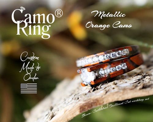 Camo Cathedral Wedding set - Brilliant Cut - Orange Metallic Camo - Size 10