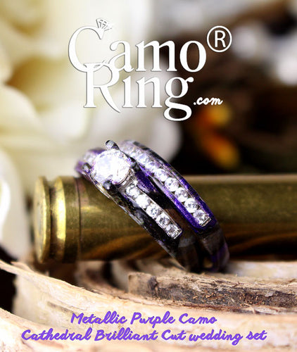 Camo Cathedral Brilliant Cut wedding set - Custom made to order - FREE BUCK RING!