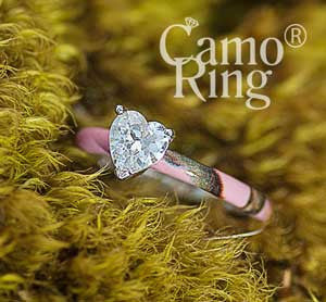 Sweatheart Solitaire Ring - Pink Camo - Size 8.5