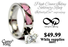 Pink Camo Brilliant Solitaire Inlay Ring