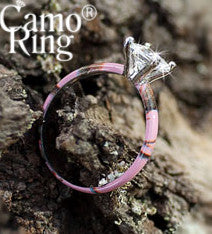 Princess Solitaire Ring - Pink Camo - Size 9