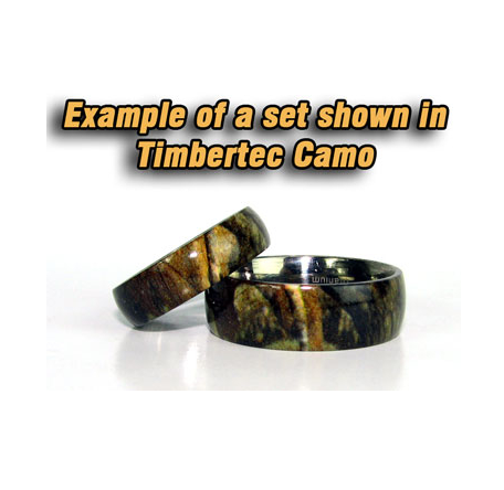 Camo His & Hers Titanium Wedding band set