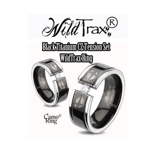 WildTrax Black & Titanium Tension set CZ Ring - SALE
