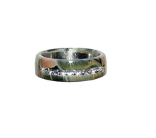 Camo Titanium Band with CZ line inlay