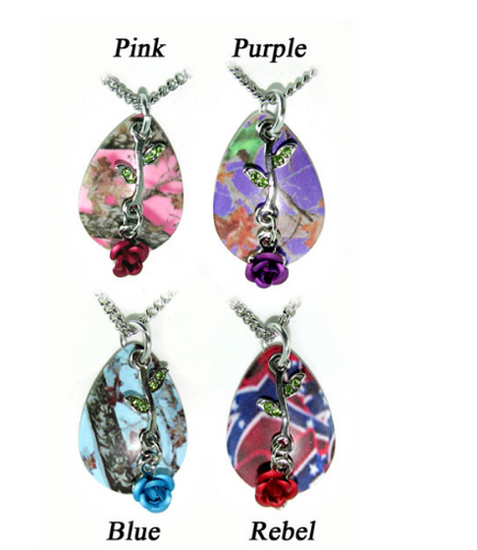Country Rose Camo Drops Necklace/Pendant set