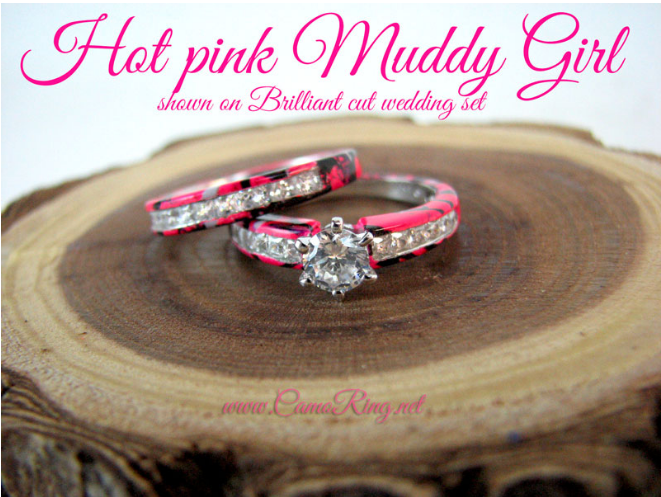 camo brilliant cut round stone wedding set - Pink Camo Wedding Rings For Her