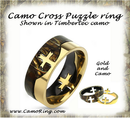 Camo Cross Puzzle Ring