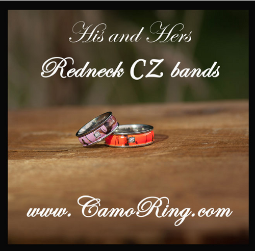 camo redneck cz his hers titanium wedding band set - Camo Wedding Ring Sets His And Hers