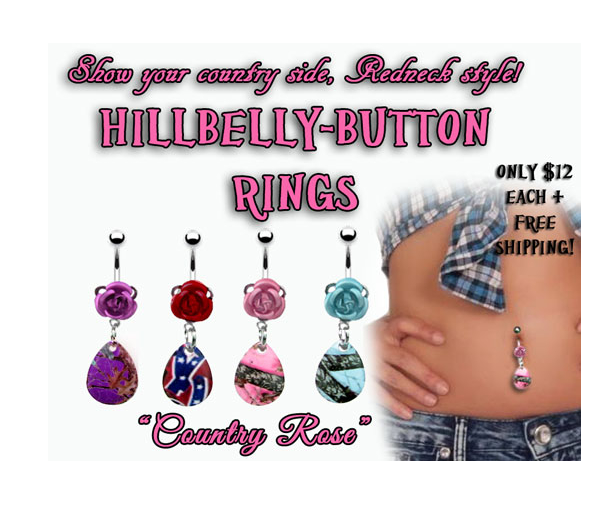 Hillbelly-Button Ring - Rose & Camo Drops
