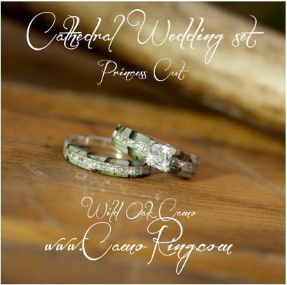 Camo Cathedral setting Wedding ring set