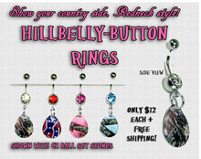 Hillbelly-Button Ring - CZ & Camo Drops