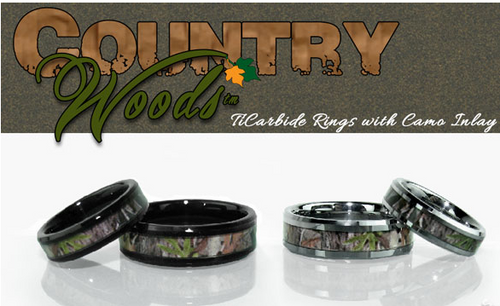 CountryWoods Camo Ring - TiCarbide Camo Inlay band