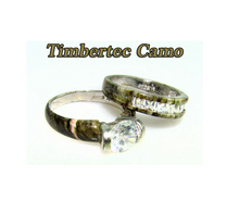 Camo CZ Wedding Set with CZ inlay