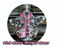 Winged Cross Camo Drops Necklace/Pendant set