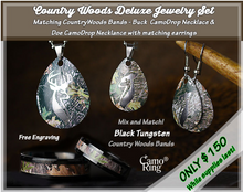 CountryWoods Camo His & Hers Deluxe Rings Buck/Doe Necklace Set