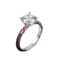 Camo Solitaire with CZ Stone setting