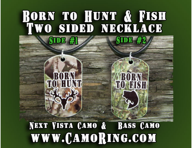 Born to Hunt & Fish two sided pendant and Necklace set