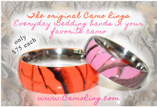 Camo His & Hers Stainless Wedding band set