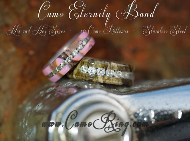 Camo Eternity His & Hers Stainless Steel Wedding band set