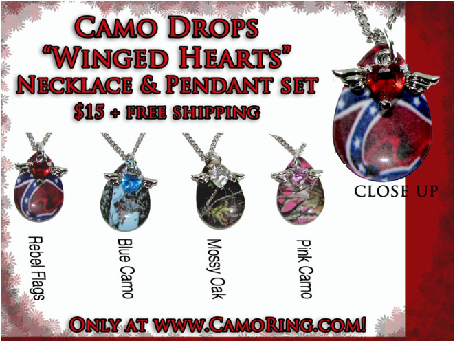 Winged Heart Camo Drops Necklace/Pendant set