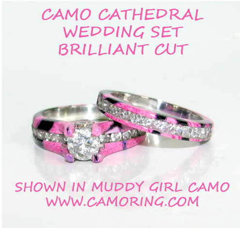 Camo Cathedral setting Wedding ring set CamoRingcom