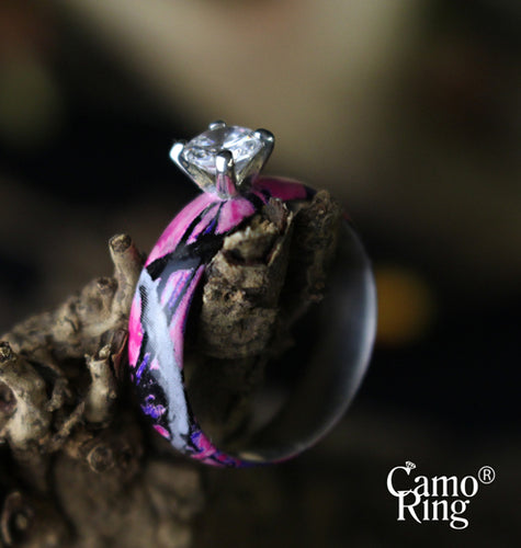 Camo Solitaire with Brilliant Cut Stone - Muddy Girl Camo - Limited Edition