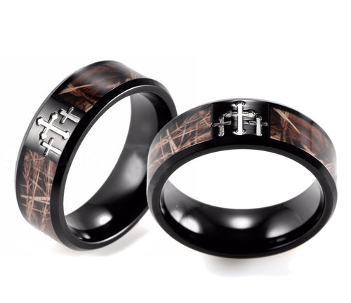 Maxlands Camo Inlay Black Titanium Cross Ring
