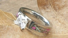 Dark Pink Camo Inlay CZ Princess Cut Titanium band Solitaire -  Your choice of Pink or Clear Stone