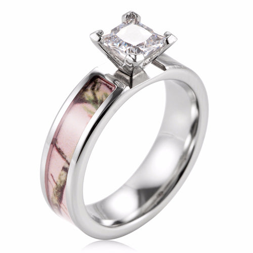 Pink Camo Inlay CZ Princess Cut Titanium band Solitaire