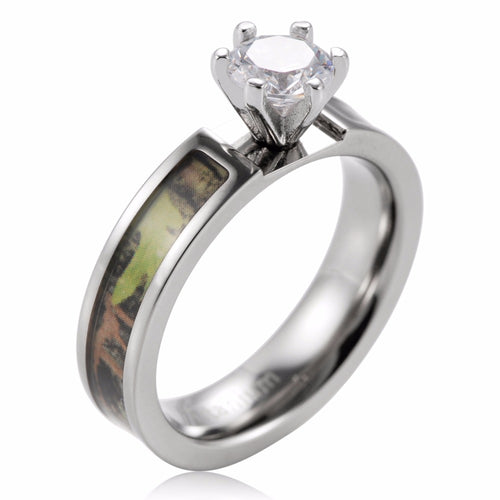 Oak Tree Camo Inlay Brilliant Cut Titanium band Solitaire