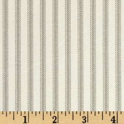 Vertical Ticking Stripe Ivory/Grey, Fabric 54