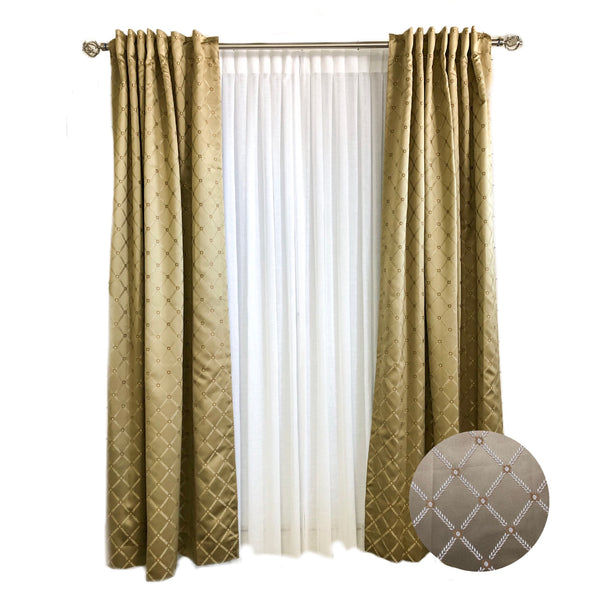 Soft Gold Diamond Silk Curtains