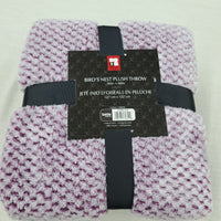Birds Nest Plush Throw Blanket Extra Soft Lavender tone