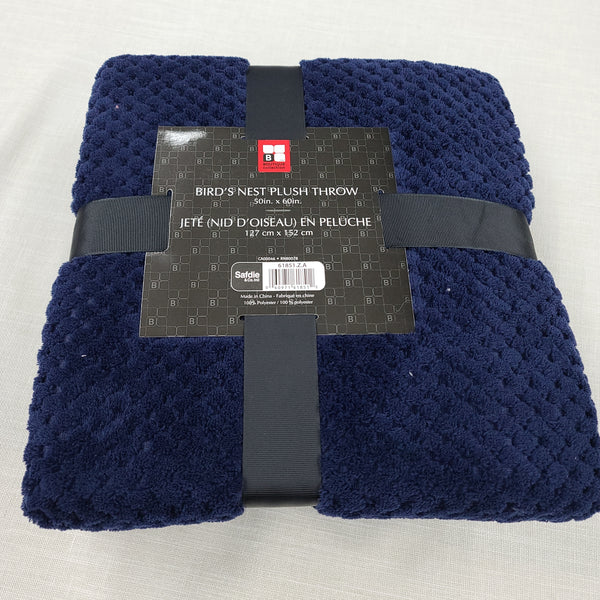 Birds Nest Plush Throw Blanket Extra Soft Navy