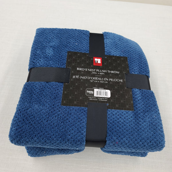 Birds Nest Plush Throw Blanket Extra Soft Blue