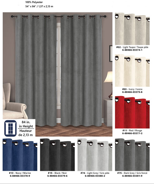 "Suede Grommet Curtain Panel, 54 by 84"" Red"