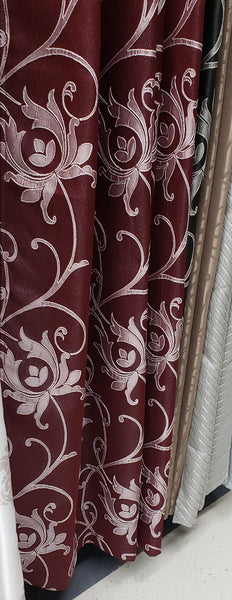 Branch Curtains Woven Grommet Top Panel, Burgundy 50 W X 95L