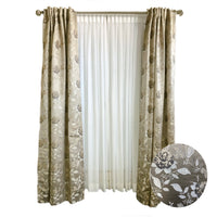 Champagne with Grey & Ivory Floral Jacquard